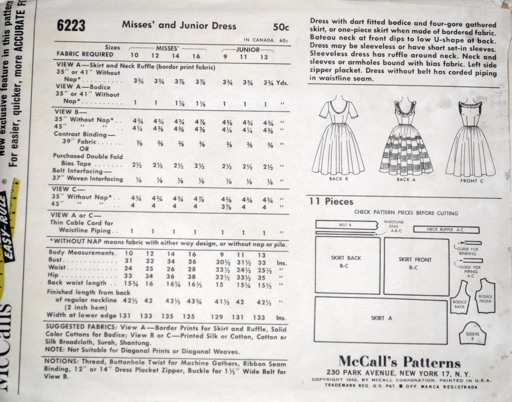 Uncut vintage McCalls 6223 dress pattern 1962 36B - Dressing Vintage