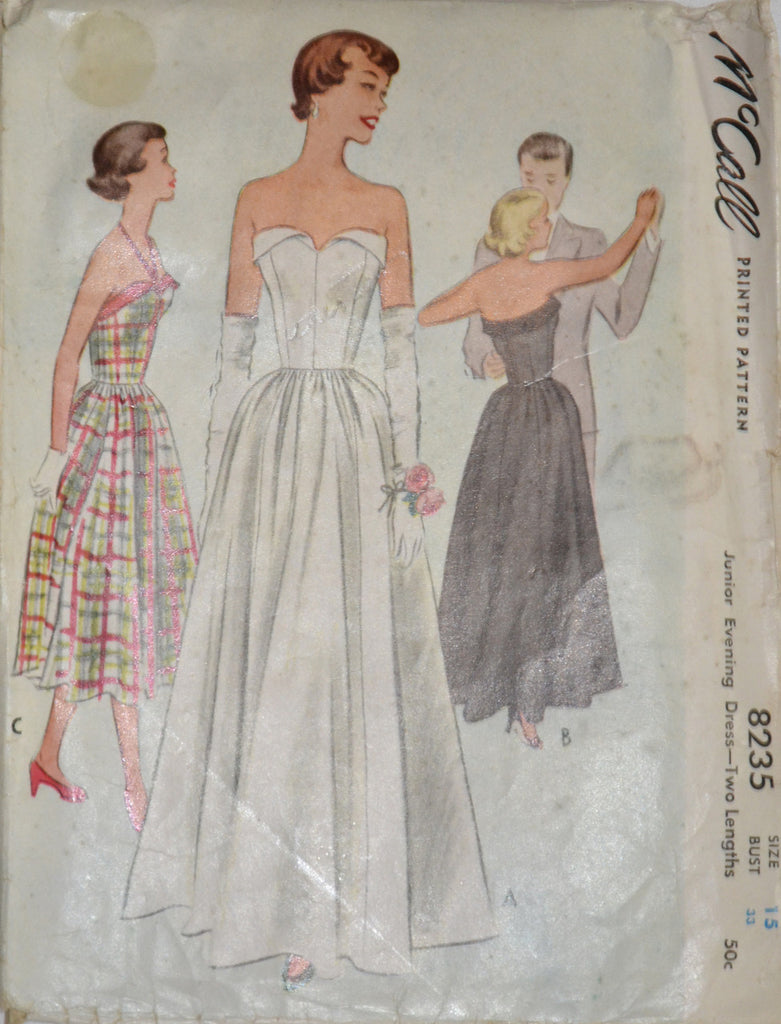1950s McCall 8235 vintage wedding dress cocktail party pattern
