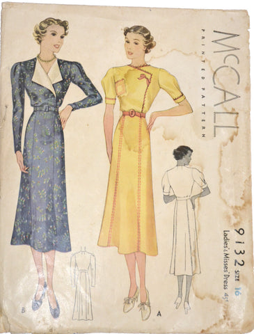 McCall 9132 vintage 1930s dress pattern 34B - Dressing Vintage