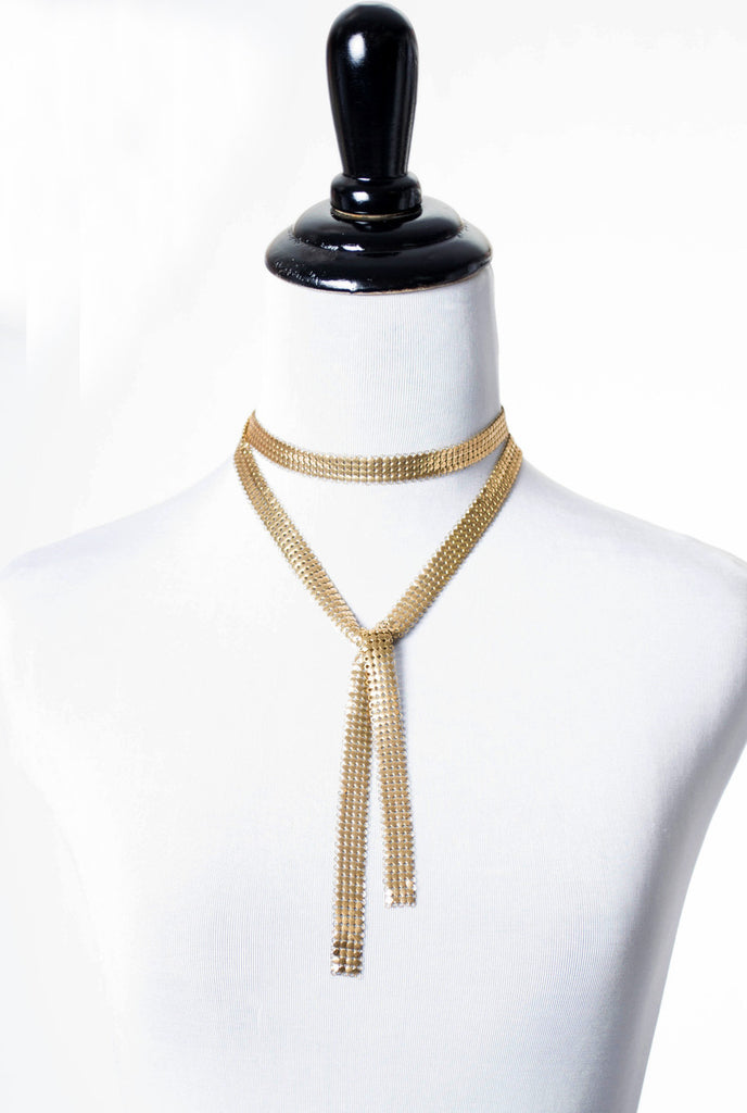 vintage gold mesh necklace