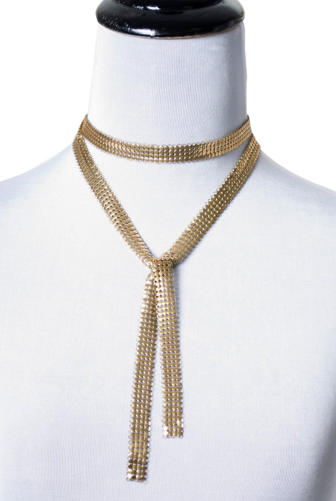 Vintage Gold Mesh Scarf Tie Style Long Necklace