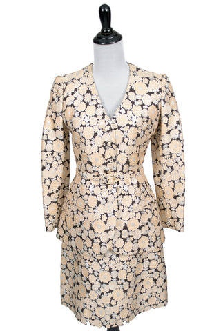 Metallic floral Vintage skirt blazer suit from 1960s