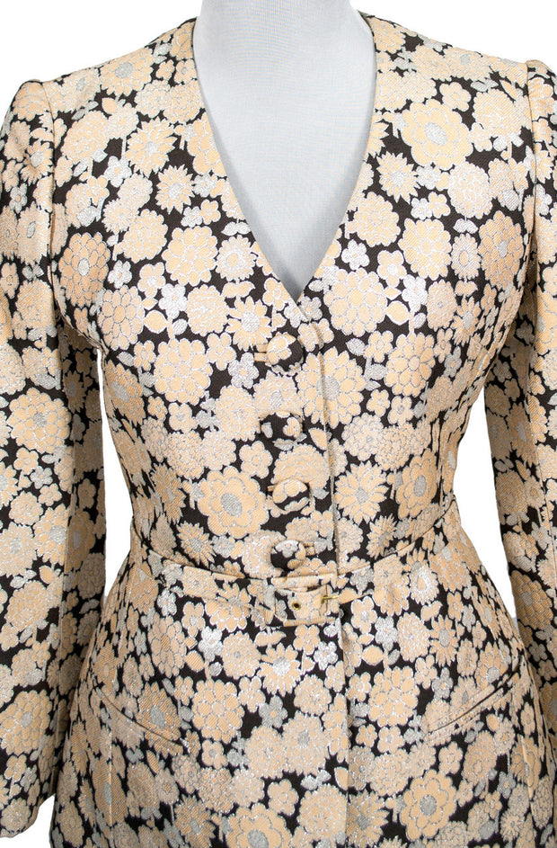 Estate vintage metallic floral brocade skirt and jacket