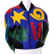 Michael Hoban North Beach Yellow, black, red, green, blue leather bomber