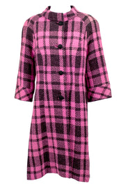 Pink and Black Plaid 1960s Vintage Coat by Mildred Warner - Dressing Vintage