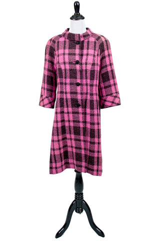 vintage pink and black 60s coat