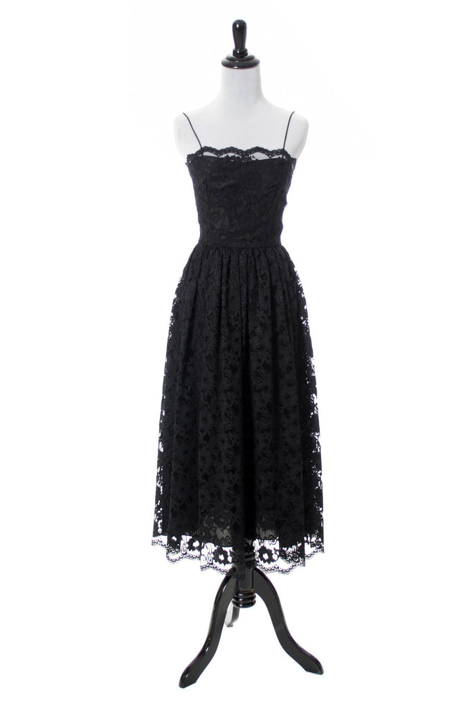 1960s vintage black lace dress