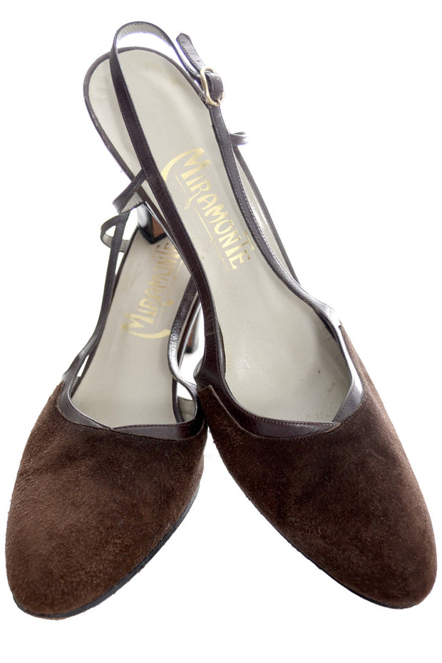 9d0142c4ae575 1970s Brown Suede Slingback Vintage Shoes Miramonte Size 8