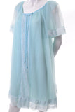 60s Miss Elaine Vintage Blue Peignoir Nightgown robe