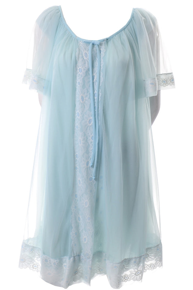 Miss Elaine Vintage Blue Chiffon Peignoir Set Nightgown and Robe - Dressing Vintage