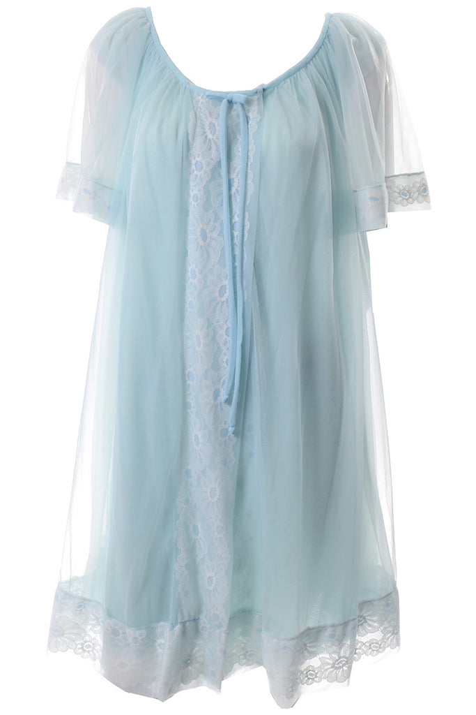 Miss Elaine Vintage Blue Peignoir Nightgown robe
