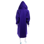 Miss New Yorker Vintage Purple Coat With Hood Big Buttons