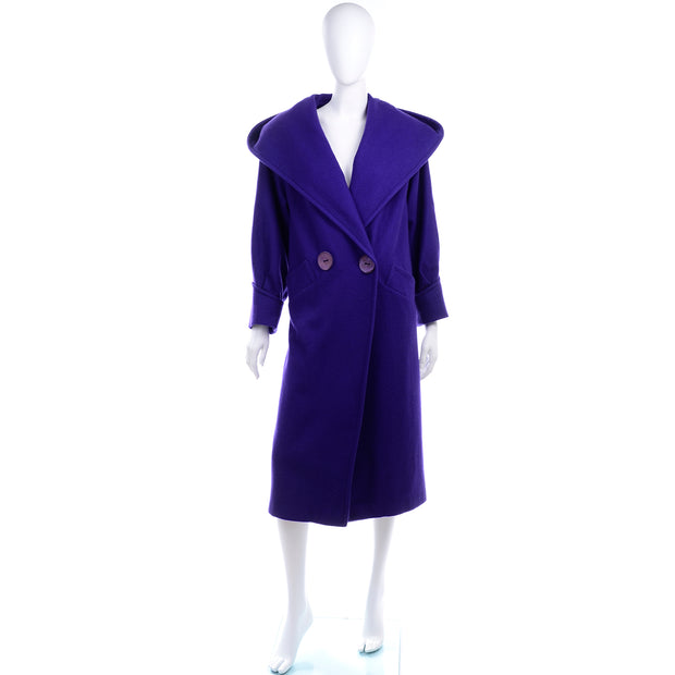 Miss New Yorker Vintage Purple Coat With Hood Buttons