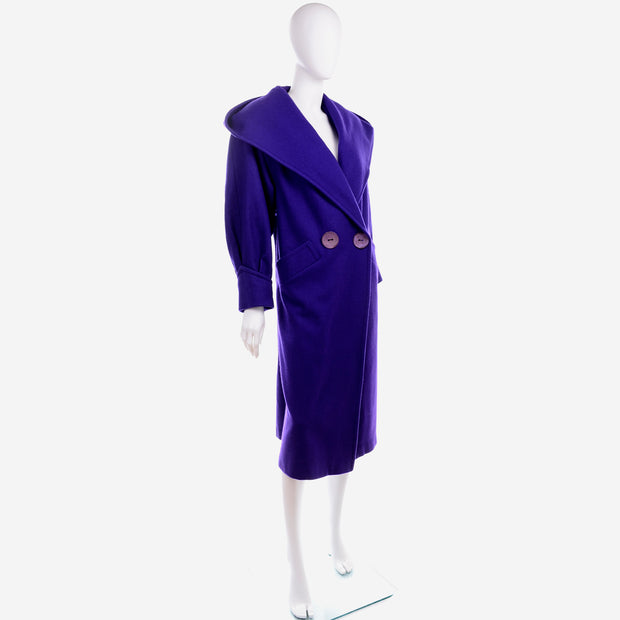 Vintage Ladies Deep Purple Coat With Hood