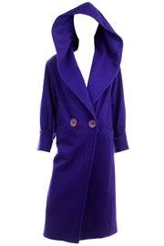 Deep Purple Vintage Coat with Hood