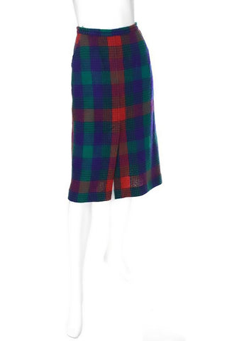 1970's vintage red, blue, green plaid Missoni skirt with slit in the front