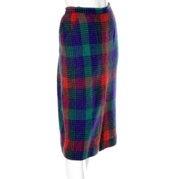 Vintage plaid Missoni skirt with front slit size 10/12