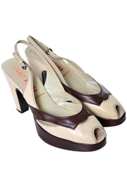 Platform Miu Miu vintage slingbacks in two tone brown and cream