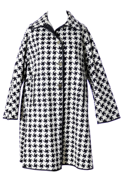 1960s Mod Black White 1960s Vintage Houndstooth Coat - Dressing Vintage