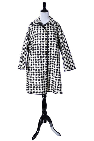 1960's Black and White Houndstooth Swing Coat