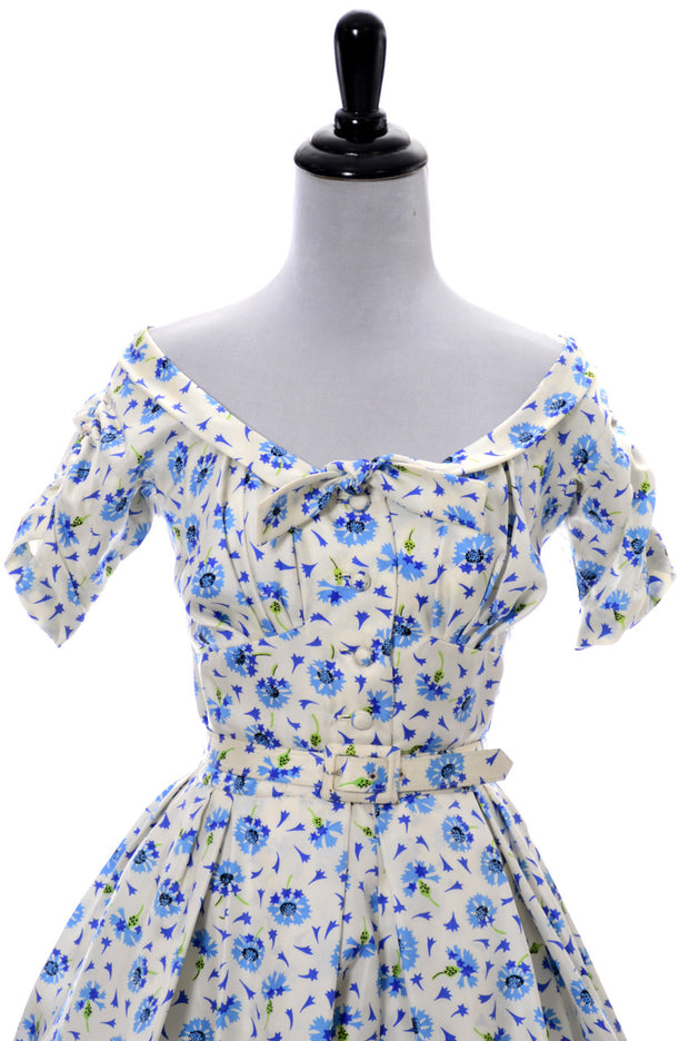 1950s Designer Mollie Parnis Blue Floral Silk Dress with Short Jacket - Dressing Vintage