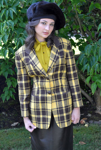 Mondi mustard plaid vintage blazer with suede elbow patches - Dressing Vintage