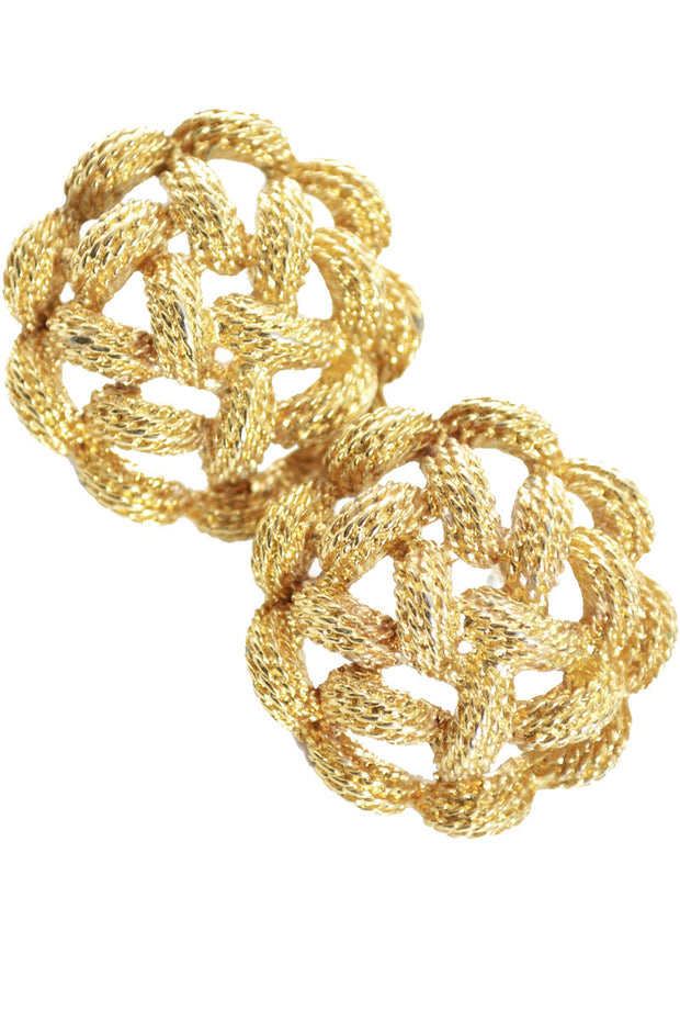 Monet gold tone pierced braided vintage earrings - Dressing Vintage