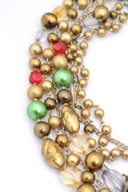 Vintage Necklace Bead Multi Strand Statement