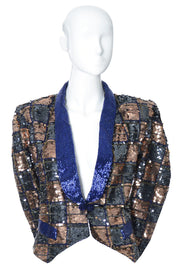 Nancy Miller Checked Beaded Sequined Silk Evening Jacket Tuxedo Style