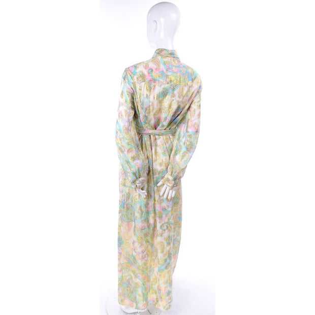 Nat Kaplan Couture Long Dress w/ Metallic Gold Paisley & Pastel Caftan Style