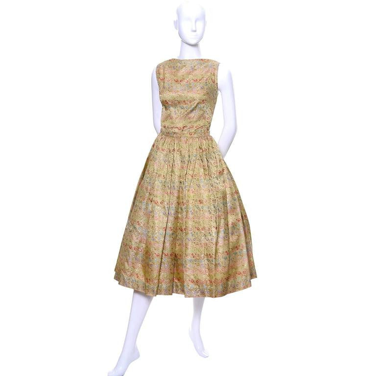 1950s Vintage Nelly de Grab New York Gold Brocade Floral 2 Piece Dress