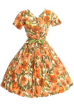 1960s floral orange poppy dress