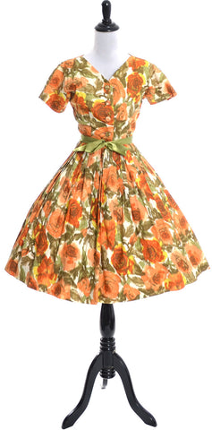 1960's Nelly Don Vintage Dress Orange Floral Cotton Print - Dressing Vintage