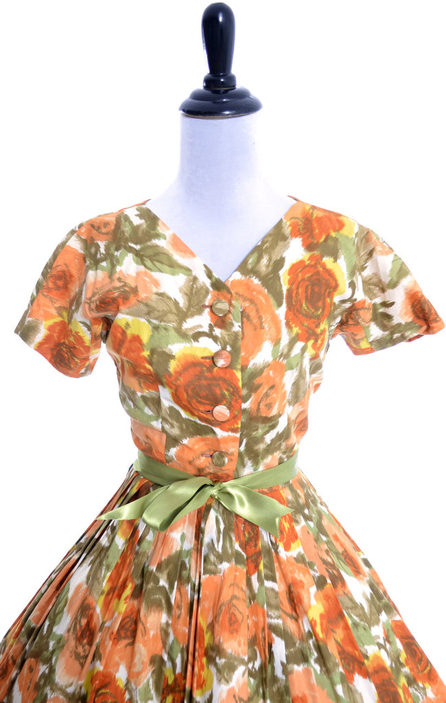 1960s vintage dress Nelly Don orange floral