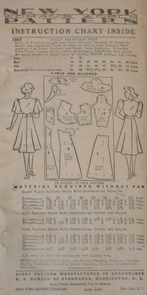 New York 1308 vintage pattern 1930s dresses