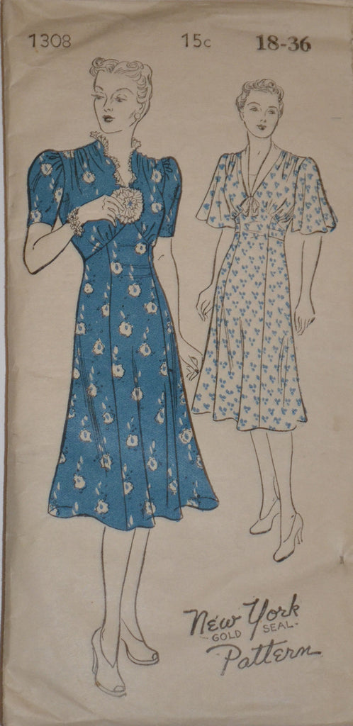 1930s dress vintage pattern New York 1308