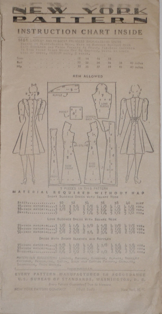 Vintage pattern 1940s dress New York pattern company