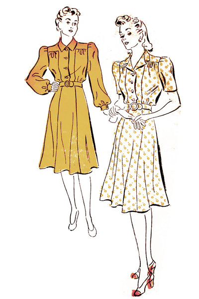 "1940s New York 1561 Gold Seal Vintage Pattern Dresses 34"" Bust - Dressing Vintage"