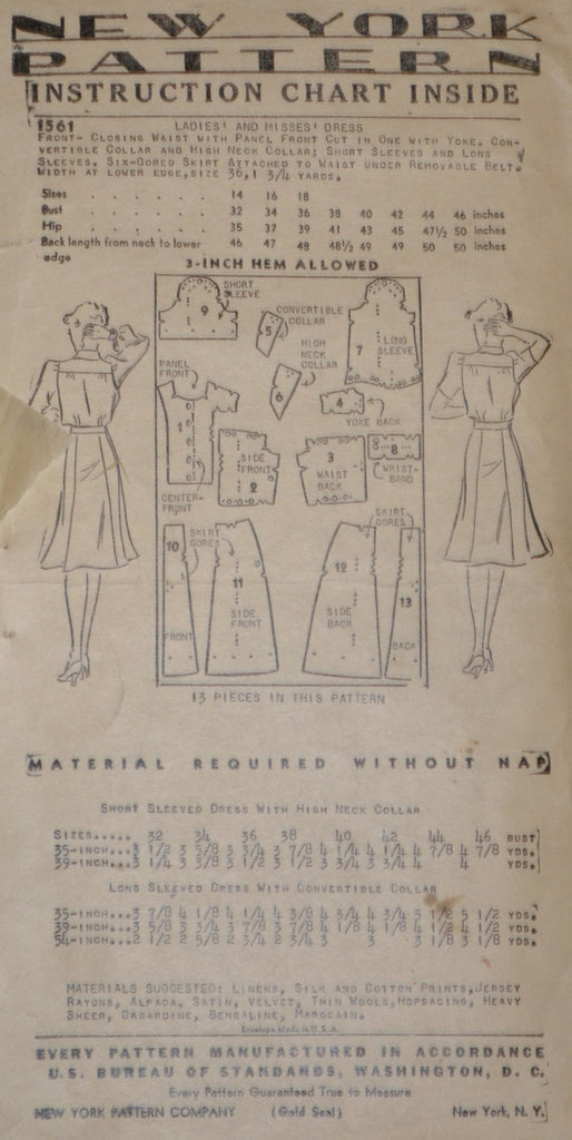 1940s vintage pattern New York Gold Seal 1561 dress