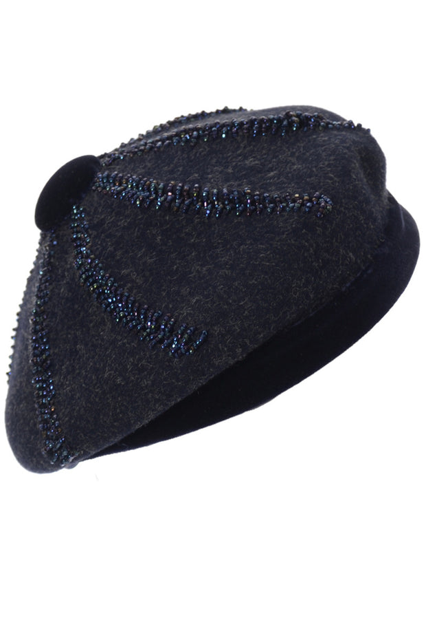 Nicholas Ungar beaded Navy Blue Wool beret vintage hat - Dressing Vintage