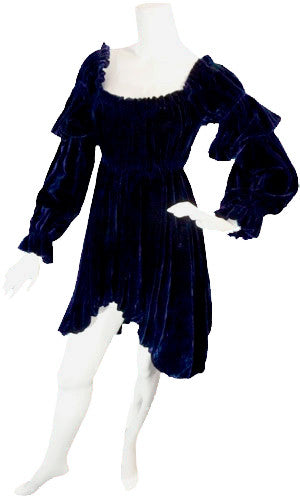 Blue velvet 1980s vintage blue Norma Kamali dress