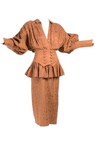 Norma Kamali Copper Jacquard Skirt Suit