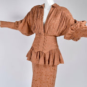 1980s Norma Kamali Victorian Copper Jacquard Dress Ensemble