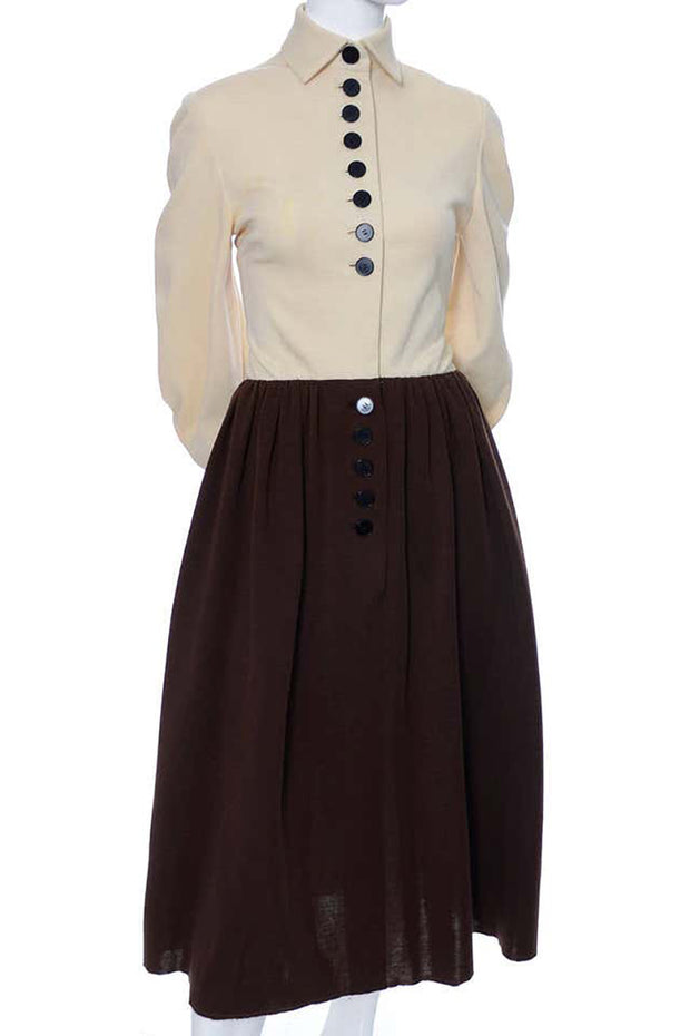 Norman Norell Vintage Dress 1960s Brown Knit