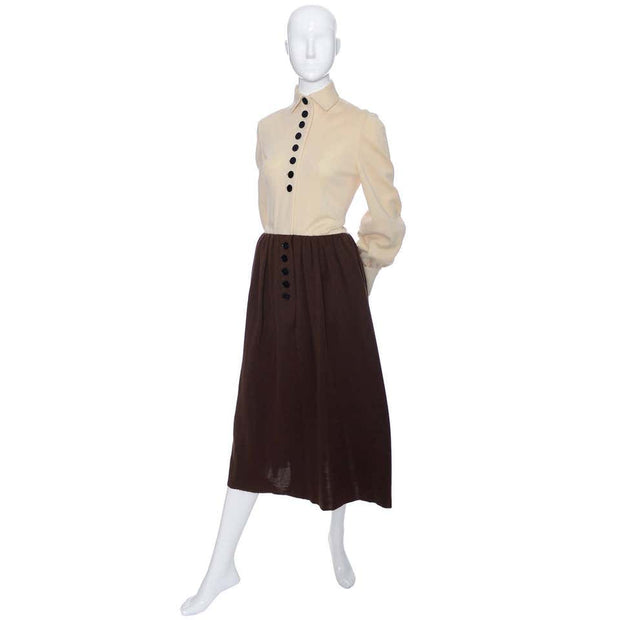 Couture Norman Norell Vintage Dress 1960s Brown Knit