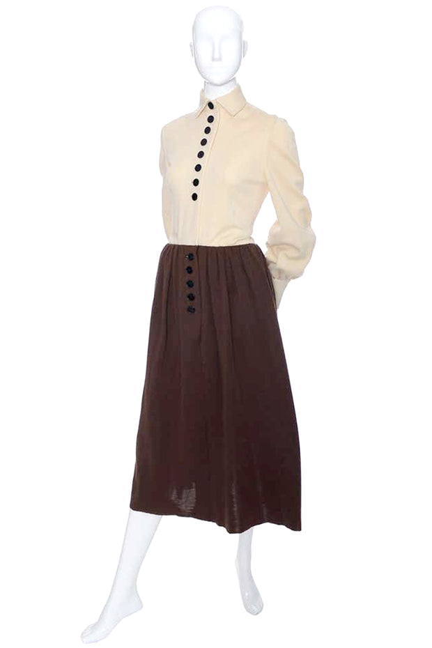 Rare Norman Norell Vintage Dress 1960s Brown Knit