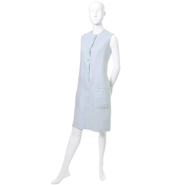 Norman Norell blue linen mod dress