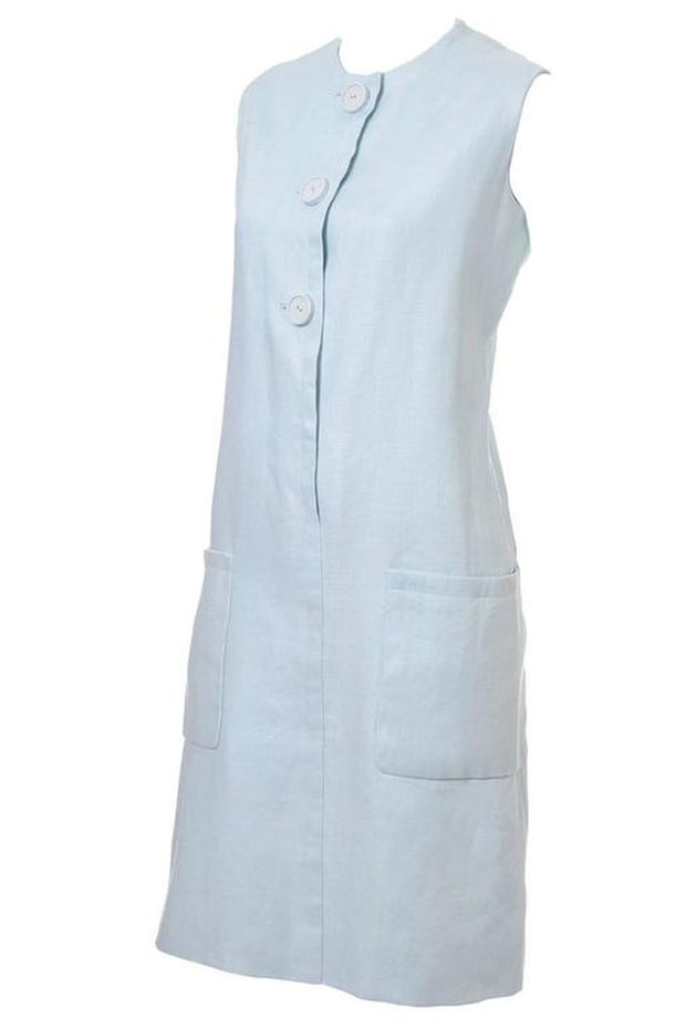 Norman Norell light blue linen vintage dress