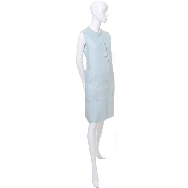 Norman Norell light blue linen 1960s dress