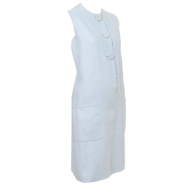 Norman Norell sleeveless blue linen vintage dress